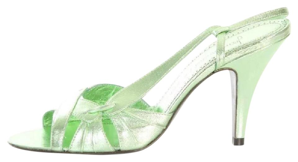 e8bf28d60d0 Jean-Michel Cazabat Metallic Mint Green Omayra Slingback Sandals Pumps
