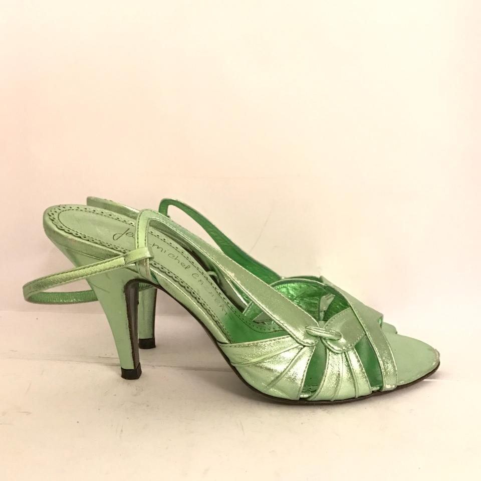 68b2f629403 Jean-Michel Cazabat Metallic Mint Green Omayra Slingback Sandals ...