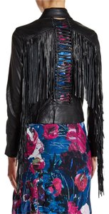 Haute Hippie Moto Leather Fringe Detail Motorcycle Jacket