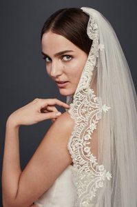 David's Bridal Cathedral Veil With Sequined Lace Appliques