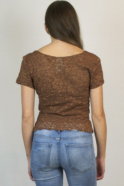 Other Lace Vintage 80s Lace Blouse T Shirt Bronze