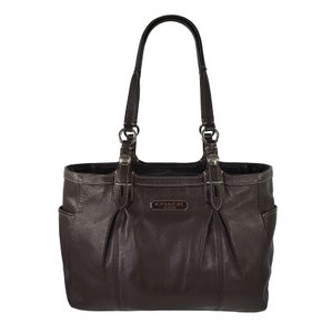 Coach Pleated Leather Chocolate Mahogany Silver Hardware Tote in Brown