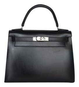 Hermès Kelly 28 Box Palladium Hardware Satchel in Black