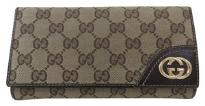Gucci Wallet Canvas Gg Monogram Brown Clutch