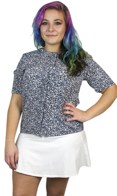 Preload https://img-static.tradesy.com/item/20607637/navy-vintage-floral-print-collarless-short-sleeve-blouse-button-down-top-size-14-l-0-1-650-650.jpg