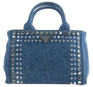 Prada Crystal Embellished Denim Tote in Baltico-Navy