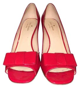 Kate Spade Patent Bows Open Toe Chic Red Pumps