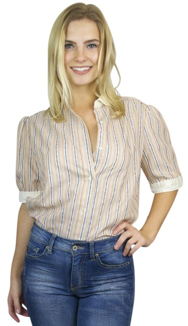 Preload https://img-static.tradesy.com/item/20607680/van-heusen-pink-vintage-pinstripe-short-sleeve-blouse-button-down-top-size-8-m-0-1-650-650.jpg
