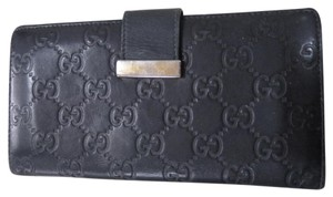 Gucci Wallet Gg Monogram Leather Black Clutch