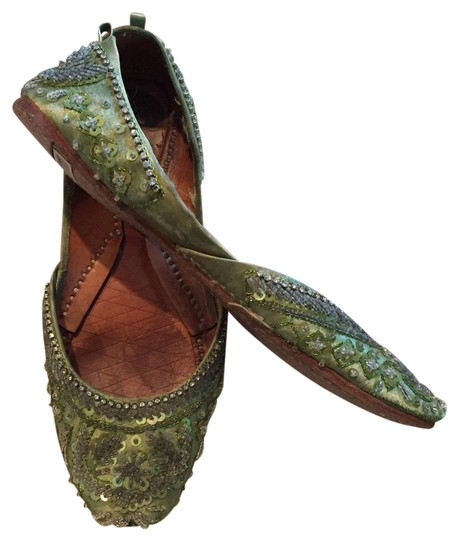 Preload https://img-static.tradesy.com/item/20607719/green-indian-beaded-leather-with-diamante-trim-from-london-flats-size-us-65-regular-m-b-0-1-540-540.jpg