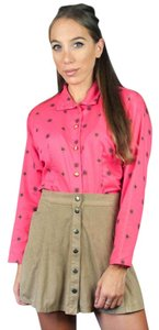 Soho Unique Sportswear Shirt Vintage 80s Shirt Long Sleeve Button Down Shirt Pink