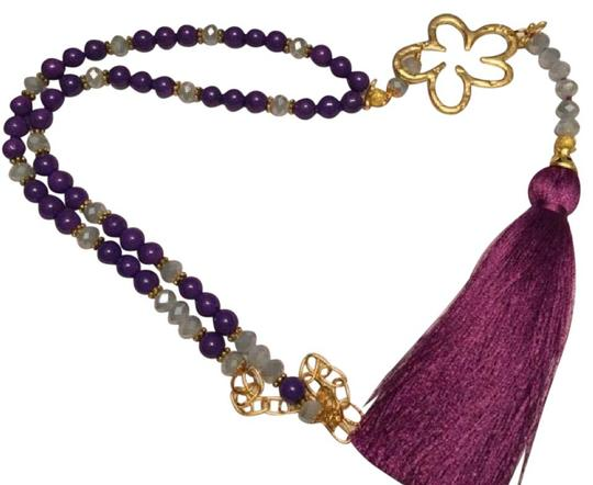Preload https://img-static.tradesy.com/item/20607813/purple-and-gray-boho-chic-necklace-0-1-540-540.jpg