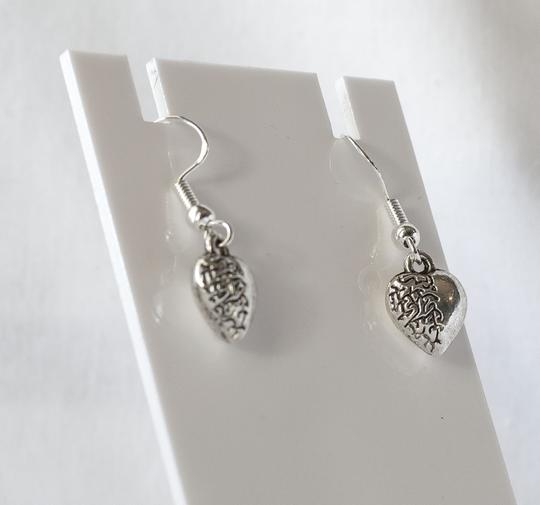 Sterling Silver Half Heart Dangle Charm Earrings Sterling Silver Half Heart Dangle Charm Earrings
