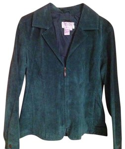 Live A Little Suede Leather Coat Teal Jacket