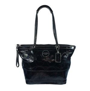 Coach Stitched Patent Leather Silver Hardware Signature Logo Tote in Black