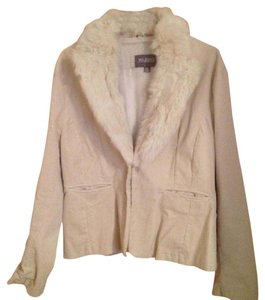 Wilsons Leather White Cream Genuine Fur Cashmere Cream/off white Blazer