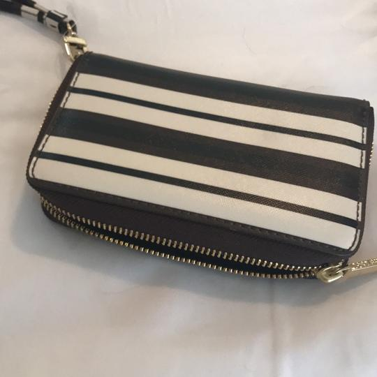 Tory Burch navy, maroon, white striped. Clutch