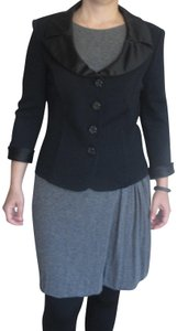 St. John Satin Collar Satin Cuffs Crystal Buttons Top Black
