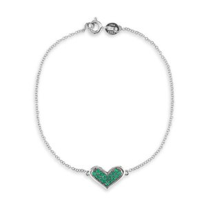 Dana Rebecca Designs Emerald & 14k White Gold Heart Bracelet