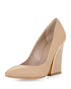 Chlo Leather Gold Trim Nude Pumps