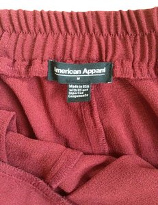 American Apparel Side Pleated Elastic Ankle Trouser Pants Cabernet