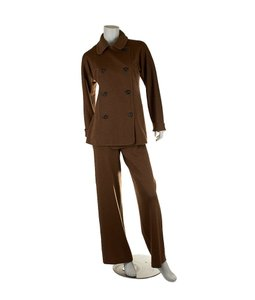 Charles Chang Lima Charles Chang-Lima Brown Wool Pant Suit, Size 10 (4214)