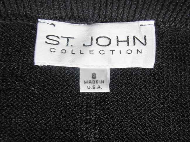 St. John Knit Elastic Waist Slit Skirt Black