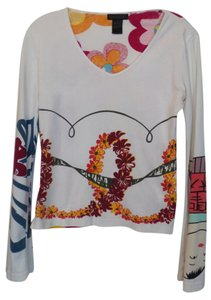 Custo Barcelona Knit Small Asian Top White + red yellow blue black +++