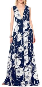 Navy Maxi Dress by Gracia Spring Vneck Plunge