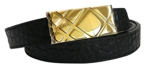 Burberry New Women Ella Heritage Grain 20MM Belt with Check Buckle Size M