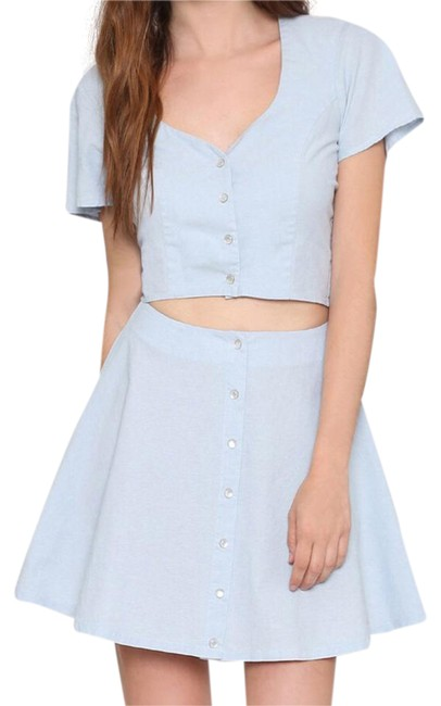 Preload https://img-static.tradesy.com/item/20608542/for-love-and-lemons-light-denim-and-austin-crop-top-and-matching-skirt-short-casual-dress-size-4-s-0-1-650-650.jpg