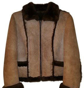Wilsons Seude & Leather Genuine Shearling Natural Warm Fur Coat