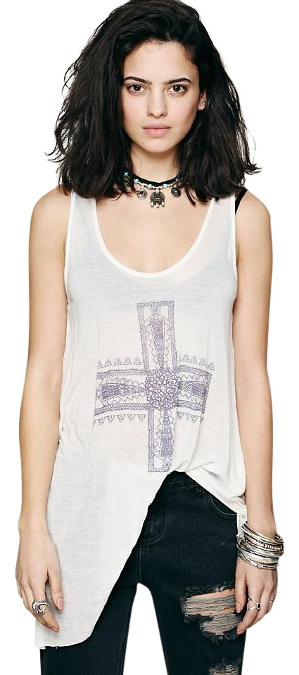 8ee83ad55f747 Free People White Waterfall Cross Tank Top Cami Size 6 (S) - Tradesy