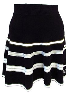 BCBGeneration A-line Striped Mini Mini Skirt Black