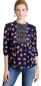 Anthropologie Embroidered Navy Floral Pullover Top