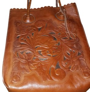 Patricia Nash Designs Floral Embossed Leather Imported Tote in Brown