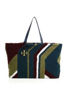 Tory Burch Wool Shearling Luxe Texture Multicolor Double Top Handles Tote in Oceano