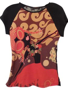 Custo Barcelona Medium Lace Mesh Knit Girl Top Black w/ red, orange, pink, white +++
