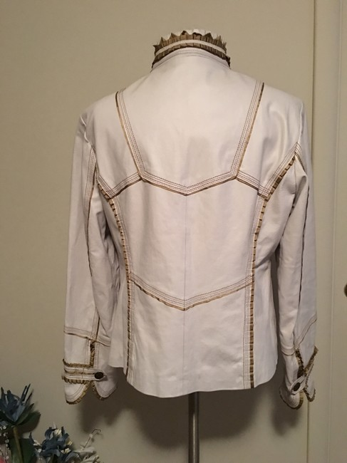 Pamela McCoy Gold Trim Military White Leather Jacket