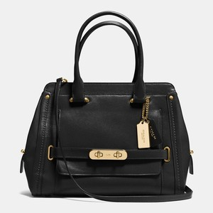Coach New Leather Gold Hardware Swagger Satchel in Black