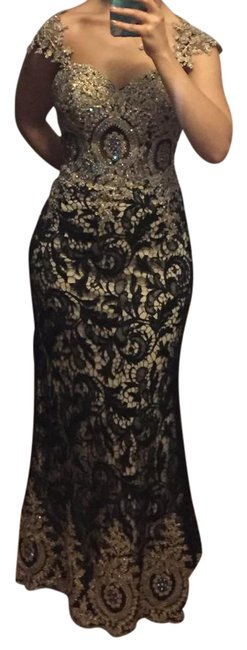 Preload https://img-static.tradesy.com/item/20609073/mariell-black-elegant-and-gold-lace-evening-gown-long-formal-dress-size-2-xs-0-3-650-650.jpg