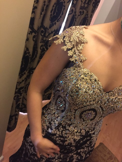 Mariell Lace Gold Prom Evening Gown Dress