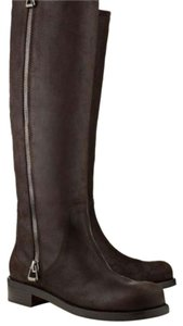 Jimmy Choo Knee High Leather Distressed Style Chocolate Brown Full Length Zipper DARK CHOCOLATE Boots