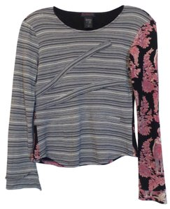 Custo Barcelona Custo Large Knit Striped Toile Top Black w/ red, orange, pink, white +++