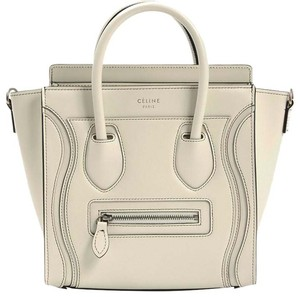 Céline Nano Nano Luggage Debossed White Ivory. Cross Body Bag