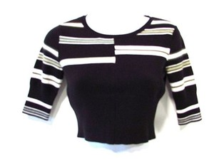 BCBGeneration Striped Cropped Sweater