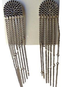 BCBGeneration antique silver chain fringe earrings