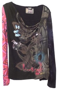 Desigual Knit Large Mixed Embroidered Long Tunic