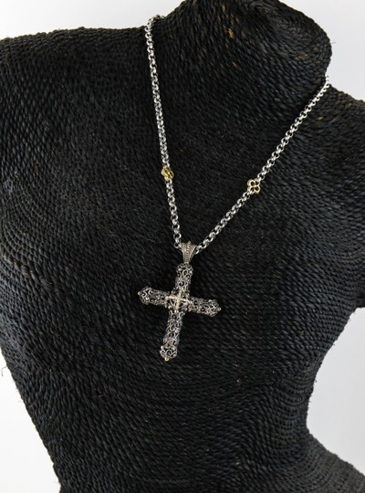 Konstantino * Rare Gothic Cross with Diamonds in 18K Gold and 925 Silver Necklace