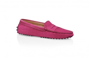 Tod's Suede Loafers Fuchsia Flats